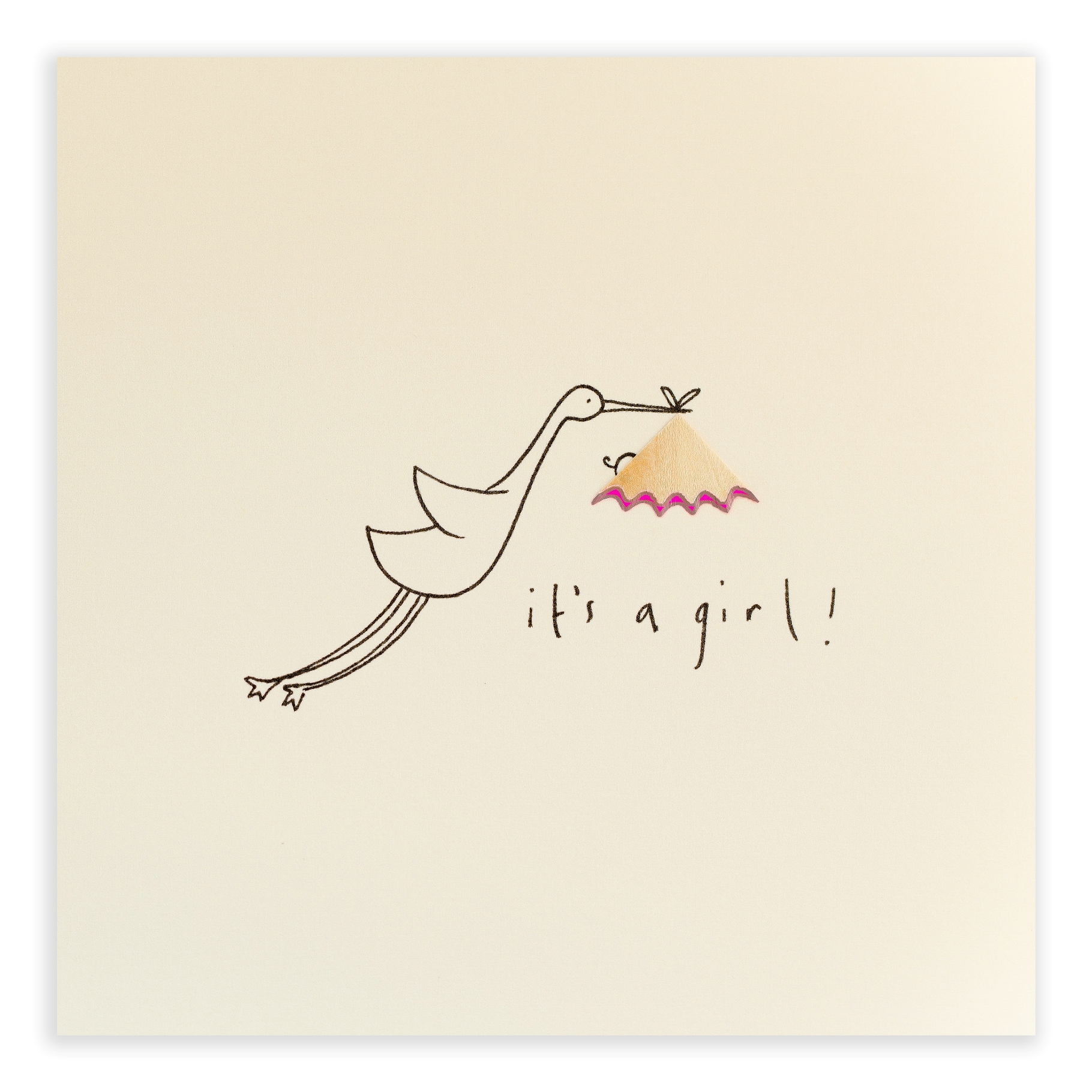 Baby girl stork pencil shaving greeting card description kristyandbryce Images