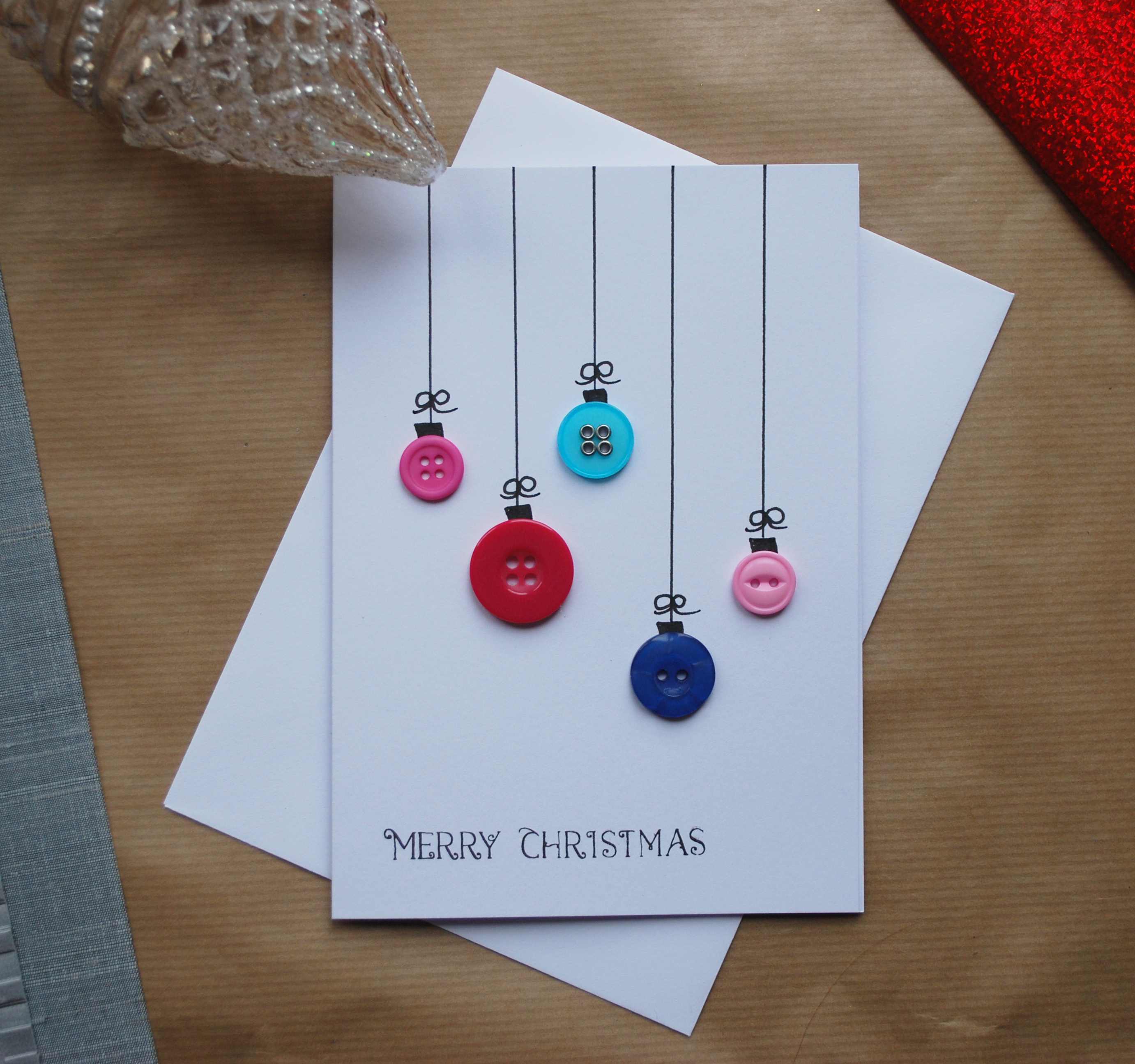 merry christmas button bauble greeting card